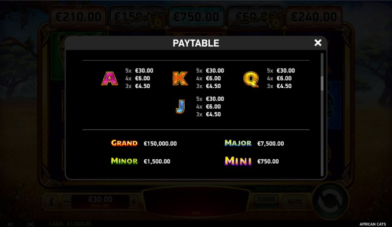 African Cats :: Paytable - Low Value Symbols