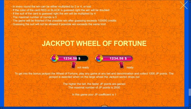 African Gold 2 :: Jackpot Rules