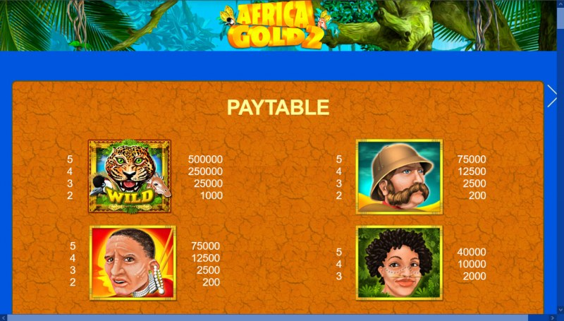 African Gold 2 :: Paytable - High Value Symbols