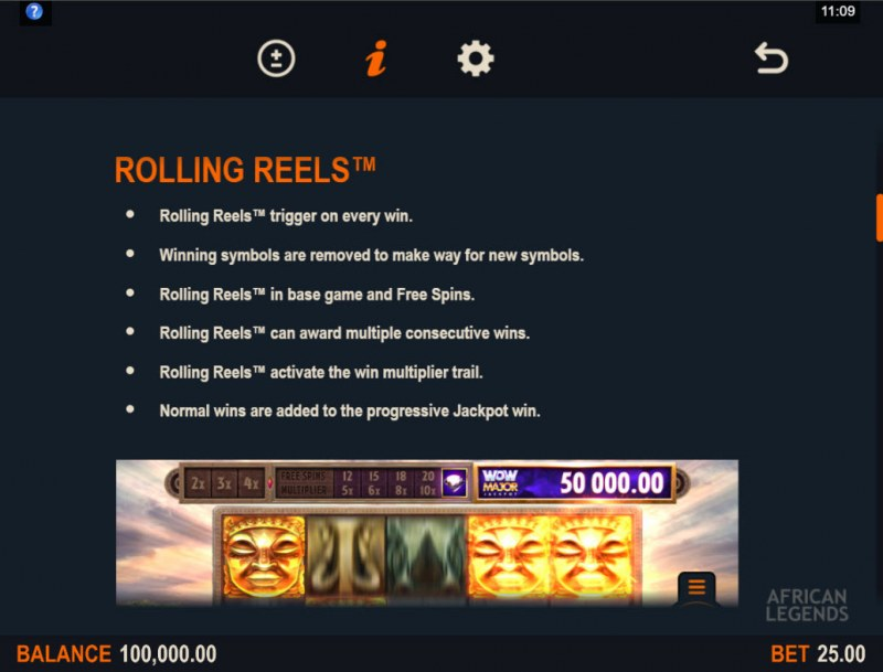 African Legends Wow Pot :: Rolling Reels Feature