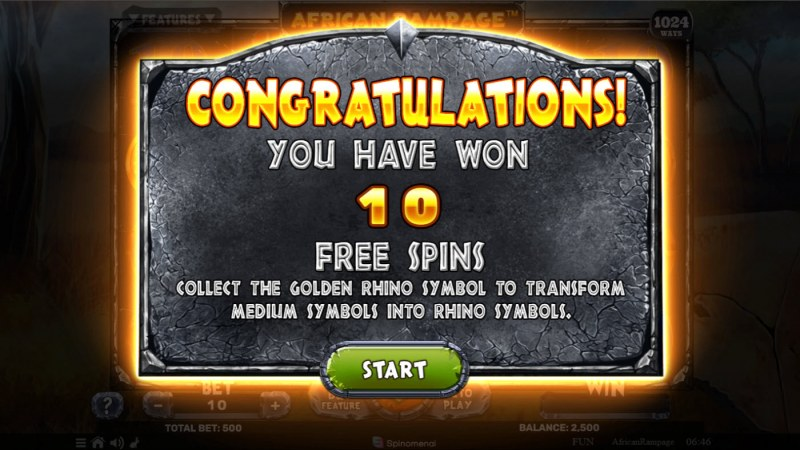 African Rampage :: 10 free spins awarded