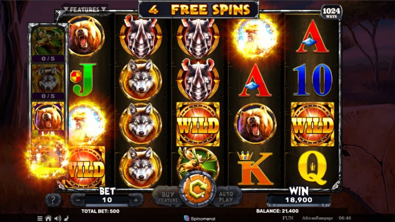 African Rampage :: Collect golden rhino symbols and trigger additional free spins
