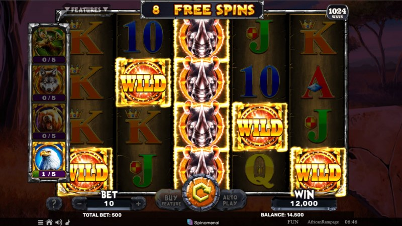 African Rampage :: Free Spins Game Board