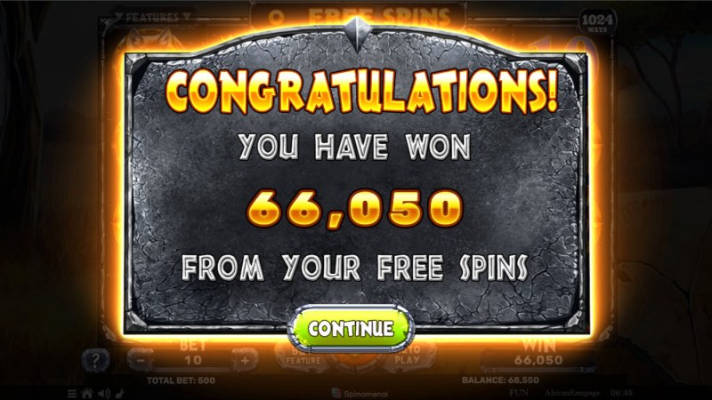African Rampage :: Total Free Spins Payout