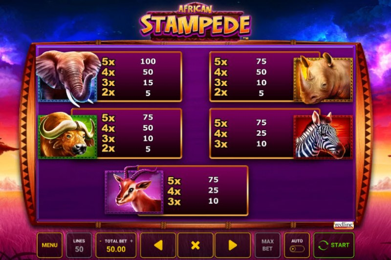 African Stampede :: Paytable - High Value Symbols