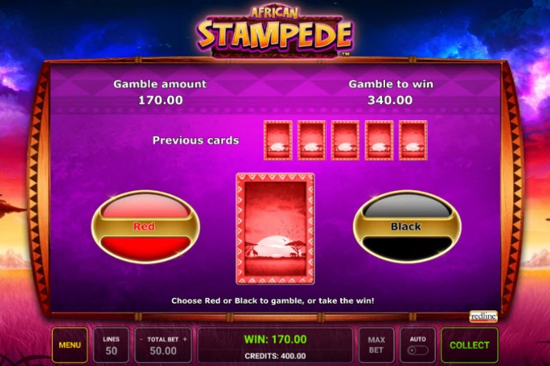 African Stampede :: Black or Red Gamble Feature