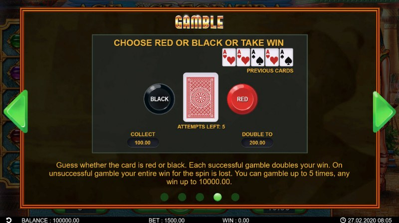 Age of Cleopatra :: Black or Red Gamble Feature