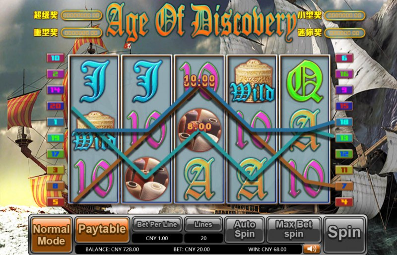 Age of Discovery :: Multiple winning paylines