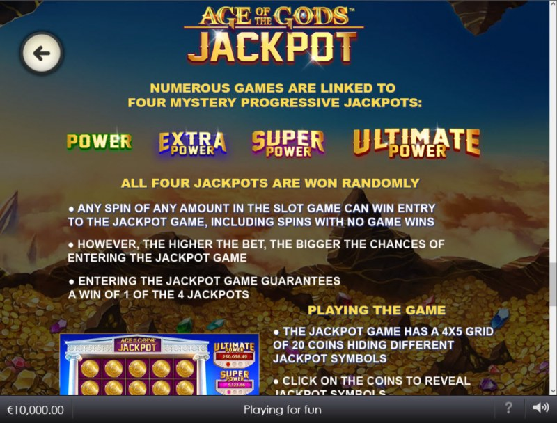 Age of the Gods Glorious Griffin :: Jackpot Rules