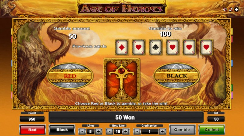 Age of Heroes :: Black or Red Gamble Feature