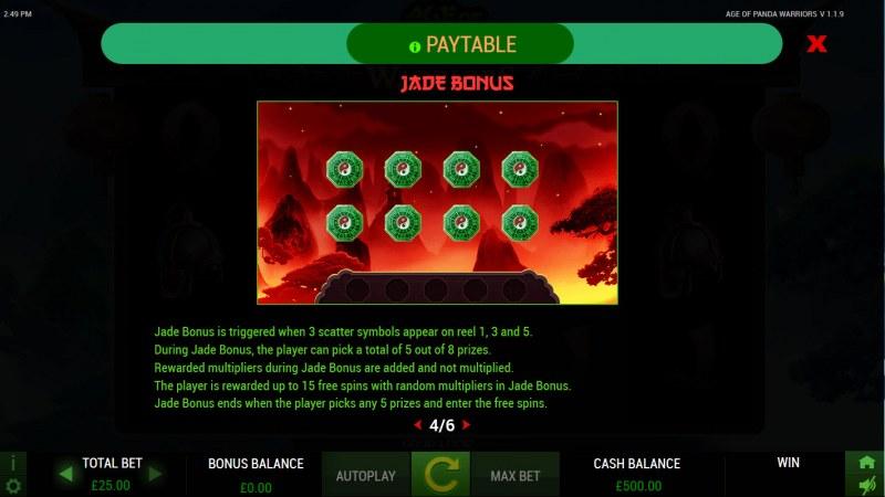 Age of Panda Warriors :: Jade Bonus Rules