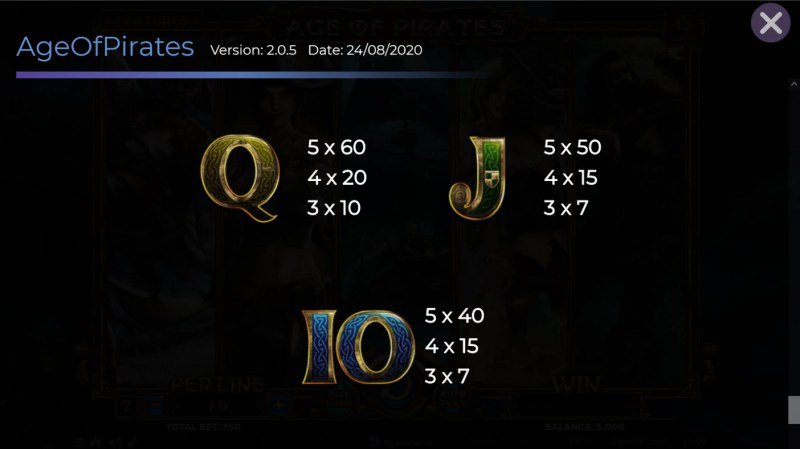 Age of Pirates 15 Lines :: Paytable - Low Value Symbols