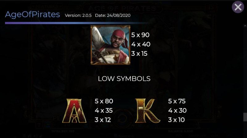 Age of Pirates 15 Lines :: Paytable - Medium Value Symbols