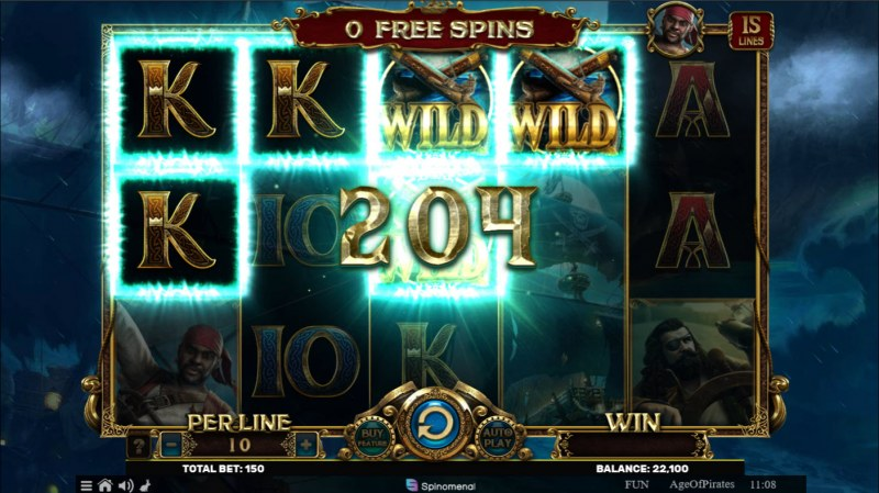 Age of Pirates 15 Lines :: Free Spins Game Board