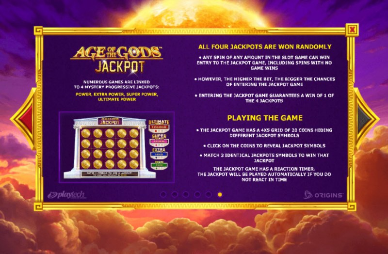 Age of the Gods Apollo Power :: Jackpot Rules