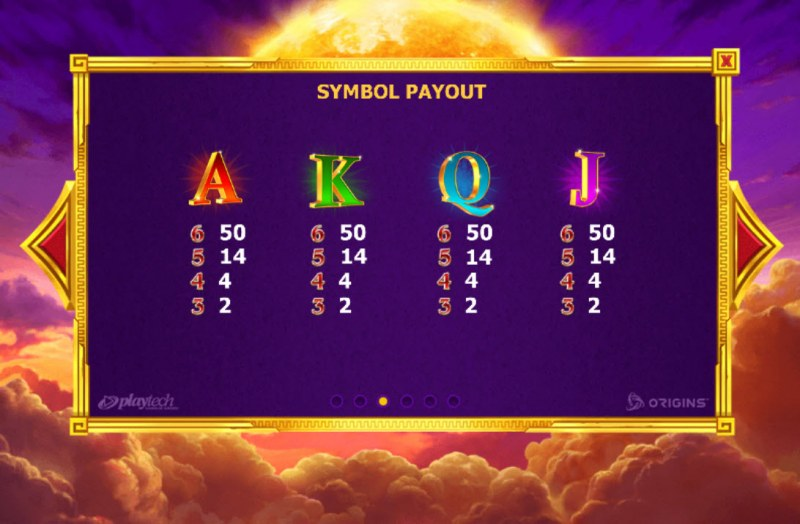 Age of the Gods Apollo Power :: Paytable - Low Value Symbols