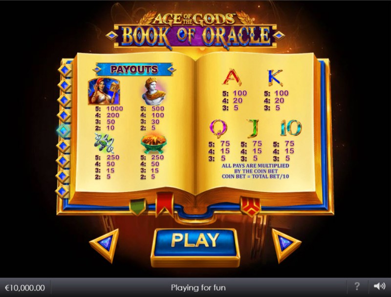 Age of the Gods Book of Oracle :: Paytable