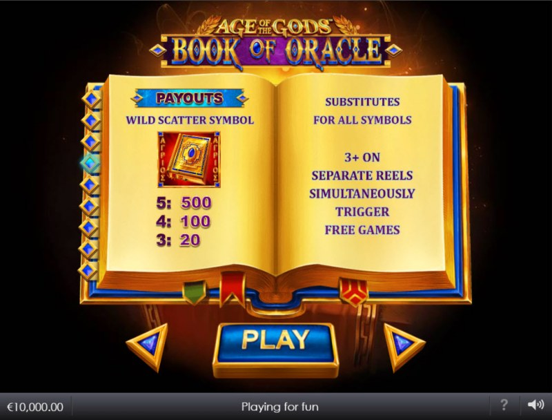 Age of the Gods Book of Oracle :: Wild and Scatter Rules