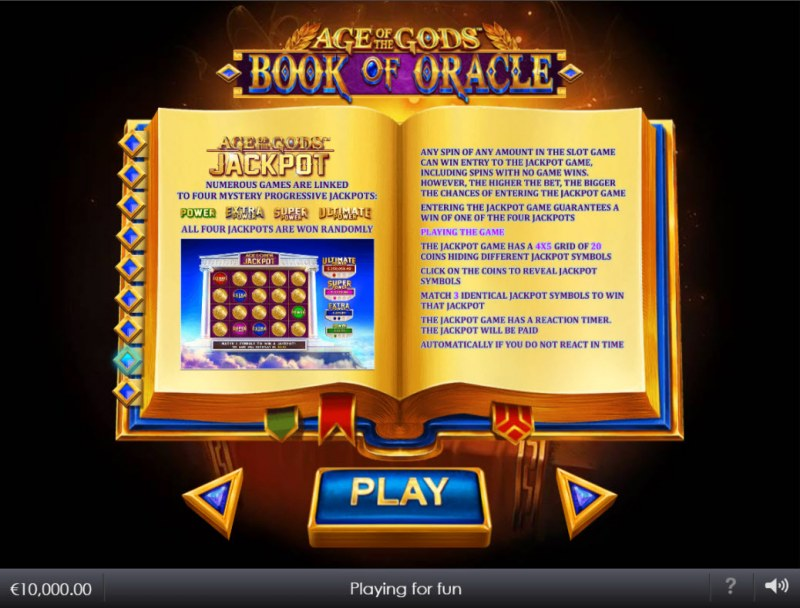 Age of the Gods Book of Oracle :: Jackpot Rules