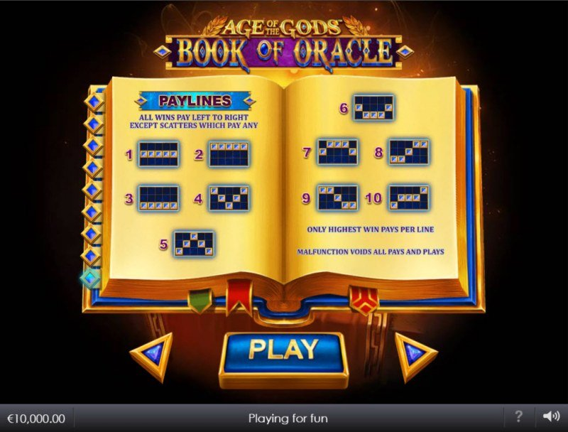 Age of the Gods Book of Oracle :: Paylines 1-10