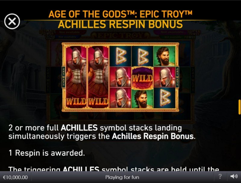 Age of the Gods Epic Troy :: Achilles Respin Bonus