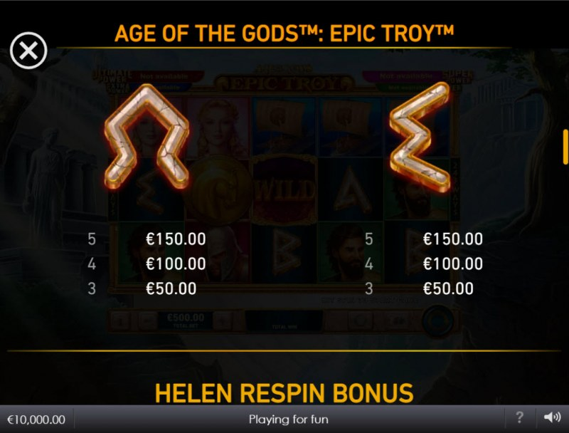 Age of the Gods Epic Troy :: Paytable - Low Value Symbols