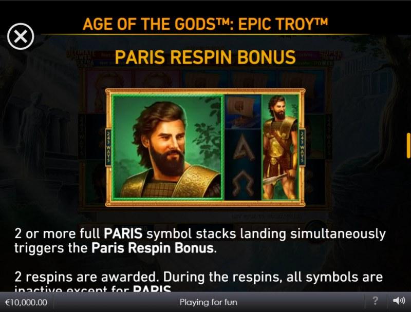Age of the Gods Epic Troy :: Paris Respin Bonus