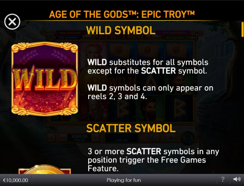 Age of the Gods Epic Troy :: Wild Symbol Rules