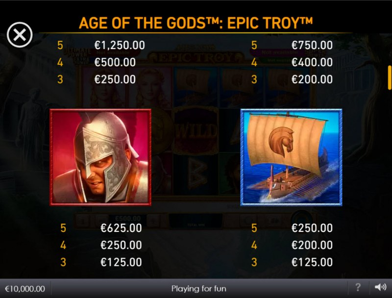 Age of the Gods Epic Troy :: Paytable - High Value Symbols