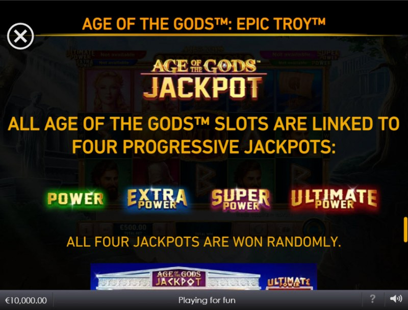Age of the Gods Epic Troy :: Jackpot Rules