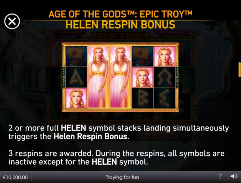 Age of the Gods Epic Troy :: Helen Respin Bonus