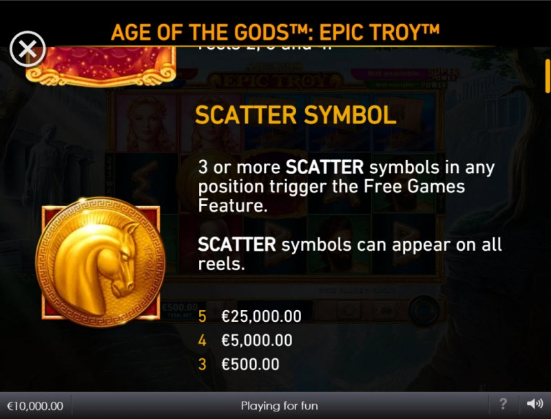 Age of the Gods Epic Troy :: Scatter Symbol Rules