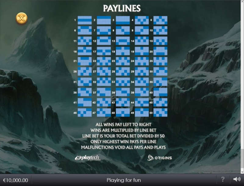 Age of the Gods Norse Gods and Giants :: Paylines 1-50
