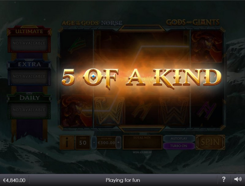 Age of the Gods Norse Gods and Giants :: A five of a kind win
