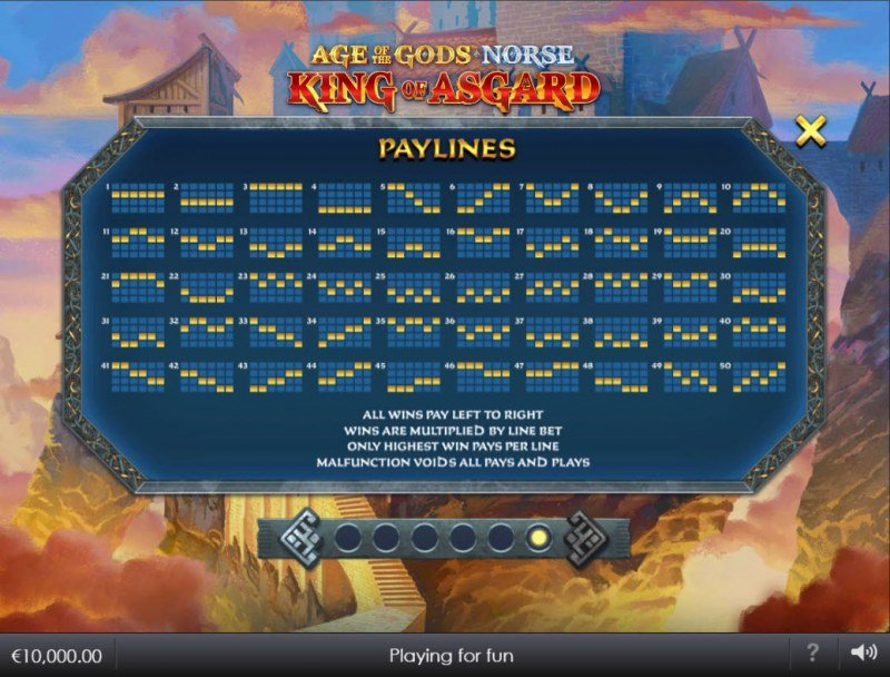 Age of the Gods Norse King of Asgard :: Paylines 1-50