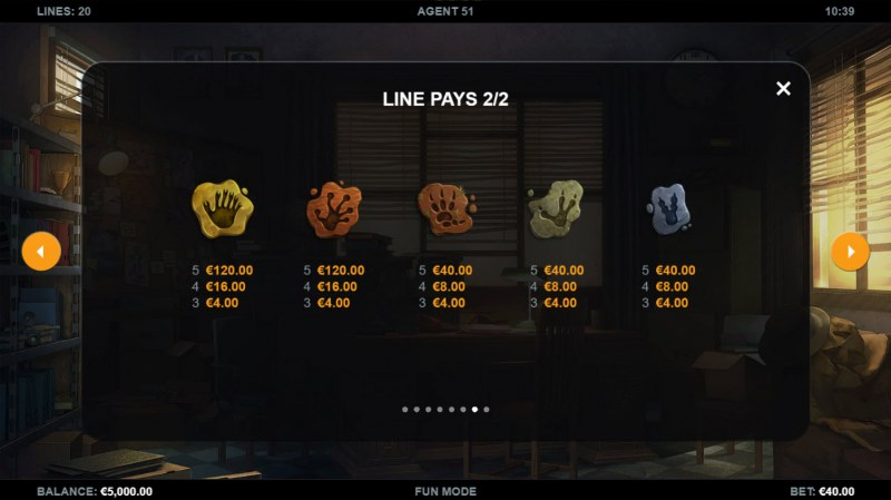 Agent 51 :: Paytable - Low Value Symbols