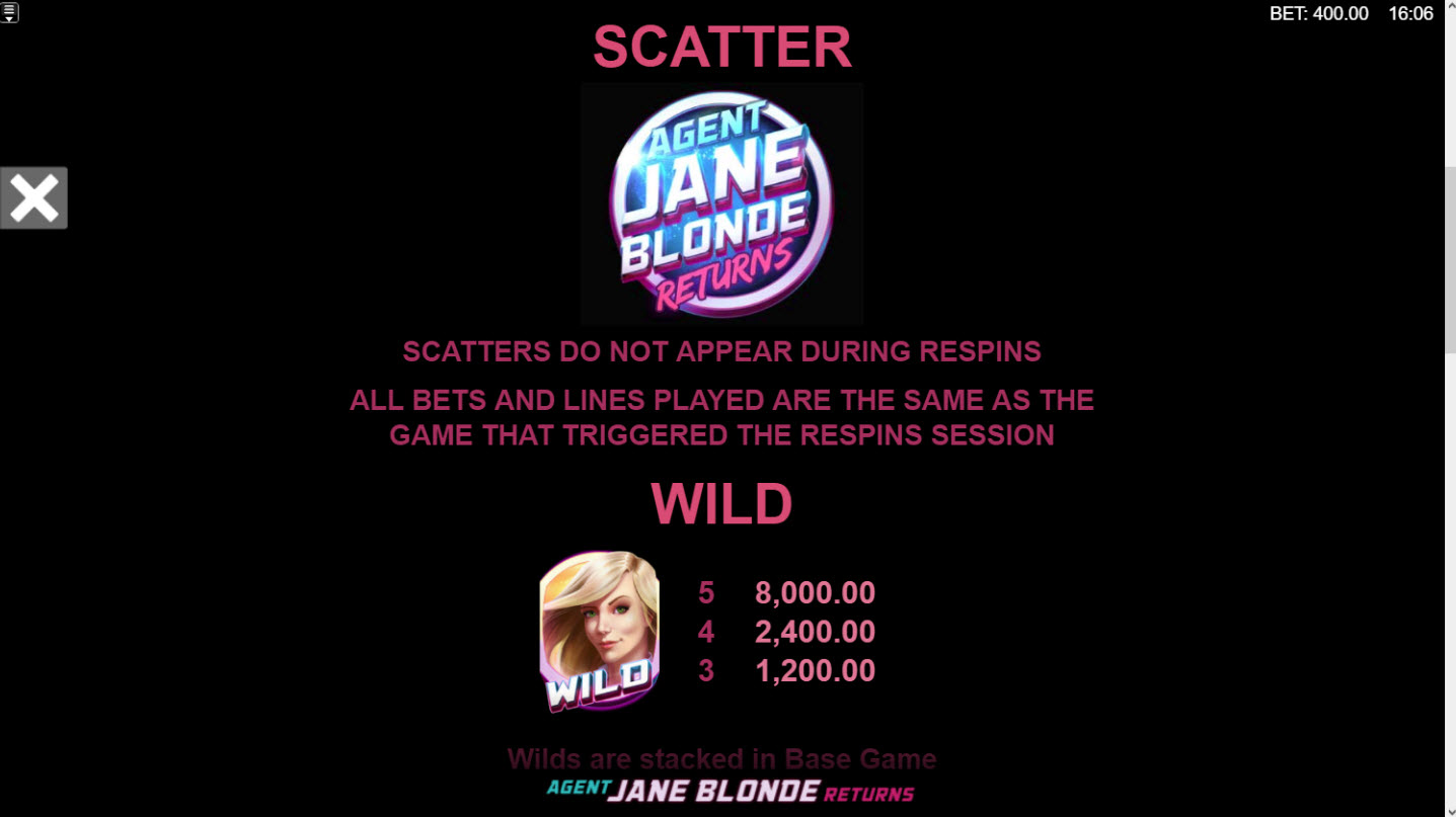 Play slots at Rich Reels: Rich Reels featuring the Video Slots Agent Jane Blonde Returns with a maximum payout of $120,000