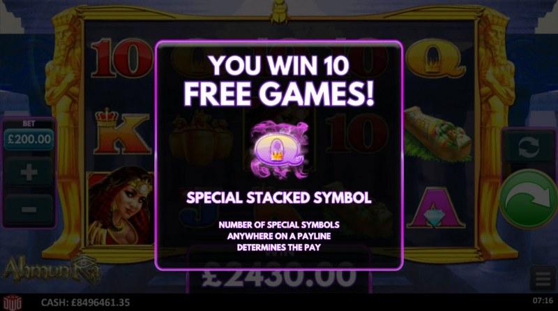 Ahmun Ra :: 10 free spins awarded