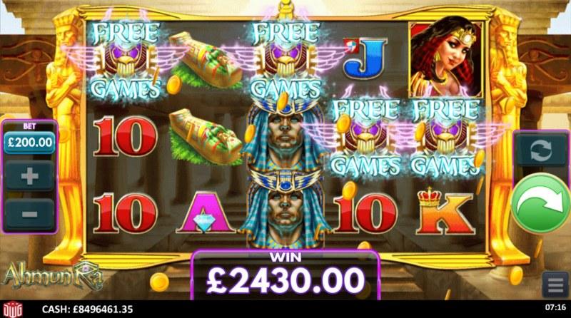 Ahmun Ra :: Scatter symbols triggers the free spins bonus feature