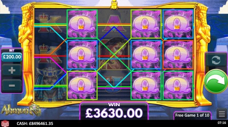 Ahmun Ra :: Total Free Spins Payout