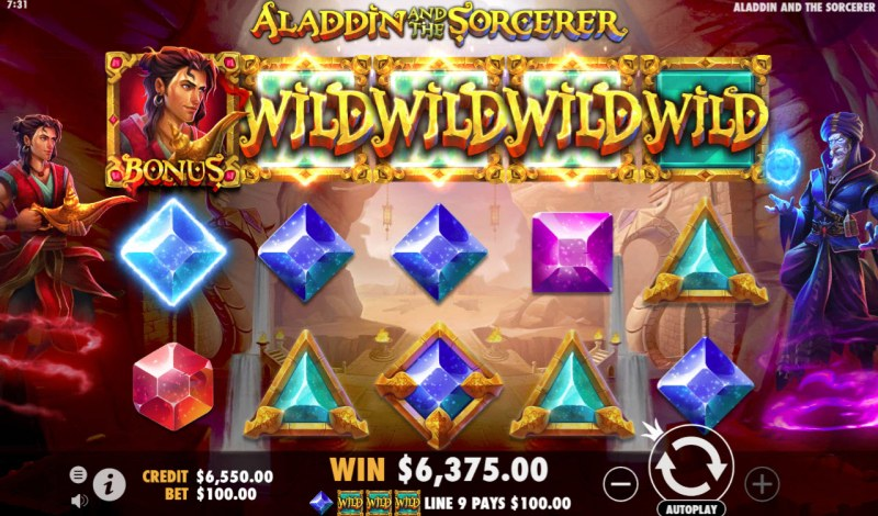 Aladdin and the Sorcerer :: Multiple winning combinations leads to a big win