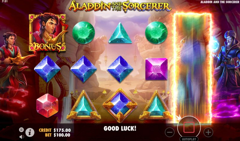 Aladdin and the Sorcerer :: Bonus symbol on reel 1 and 5 triggers bonus