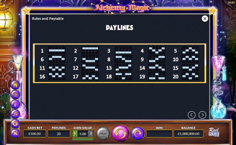 Alchemy Magic :: Paylines 1-20