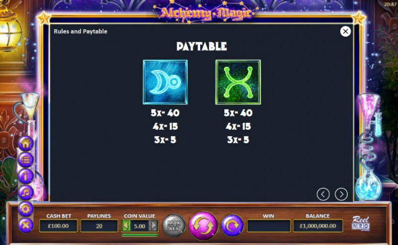 Alchemy Magic :: Paytable - Low Value Symbols