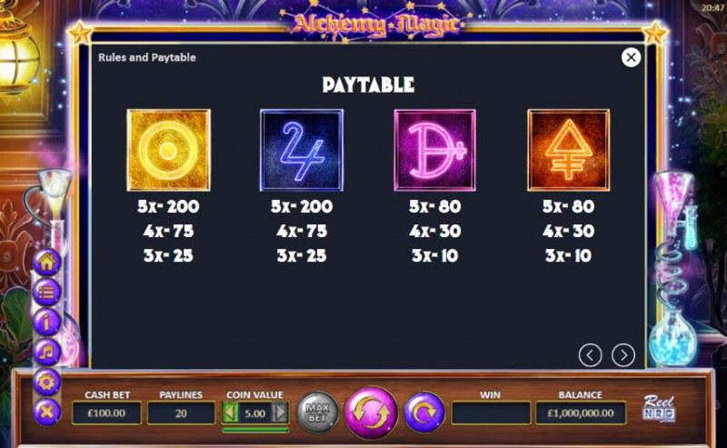 Alchemy Magic :: Paytable - Medium Value Symbols