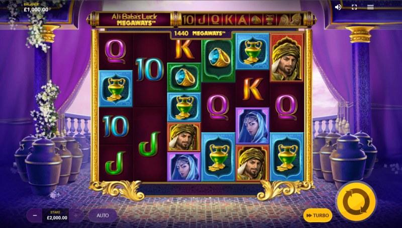 Ali Baba's Luck Megaways :: Base Game Screen