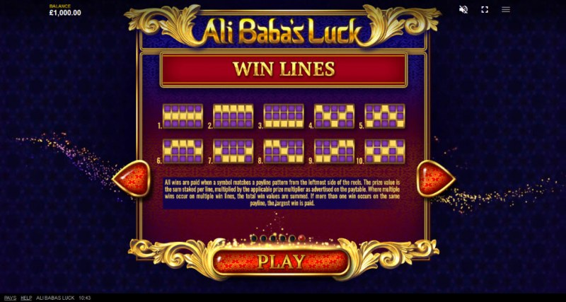 Ali Baba's Luck :: Paylines 1-10