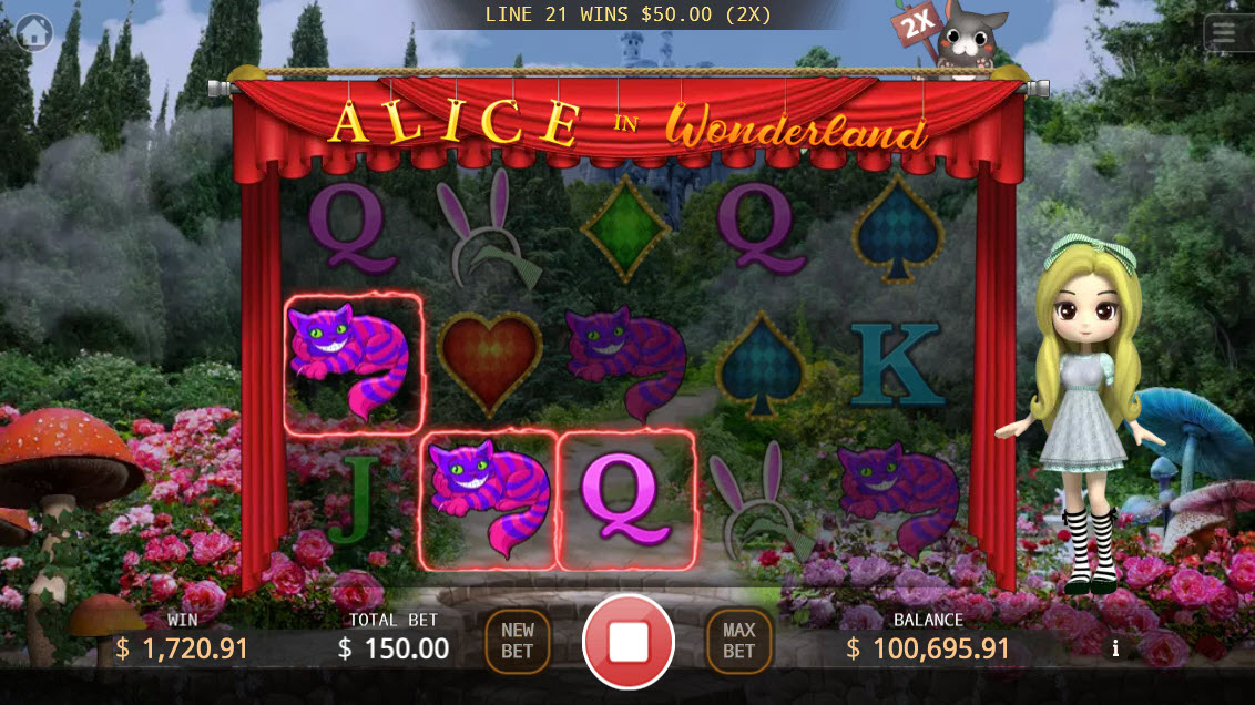 Alice in Wonderland :: Multiple winning combinations leads to a big win