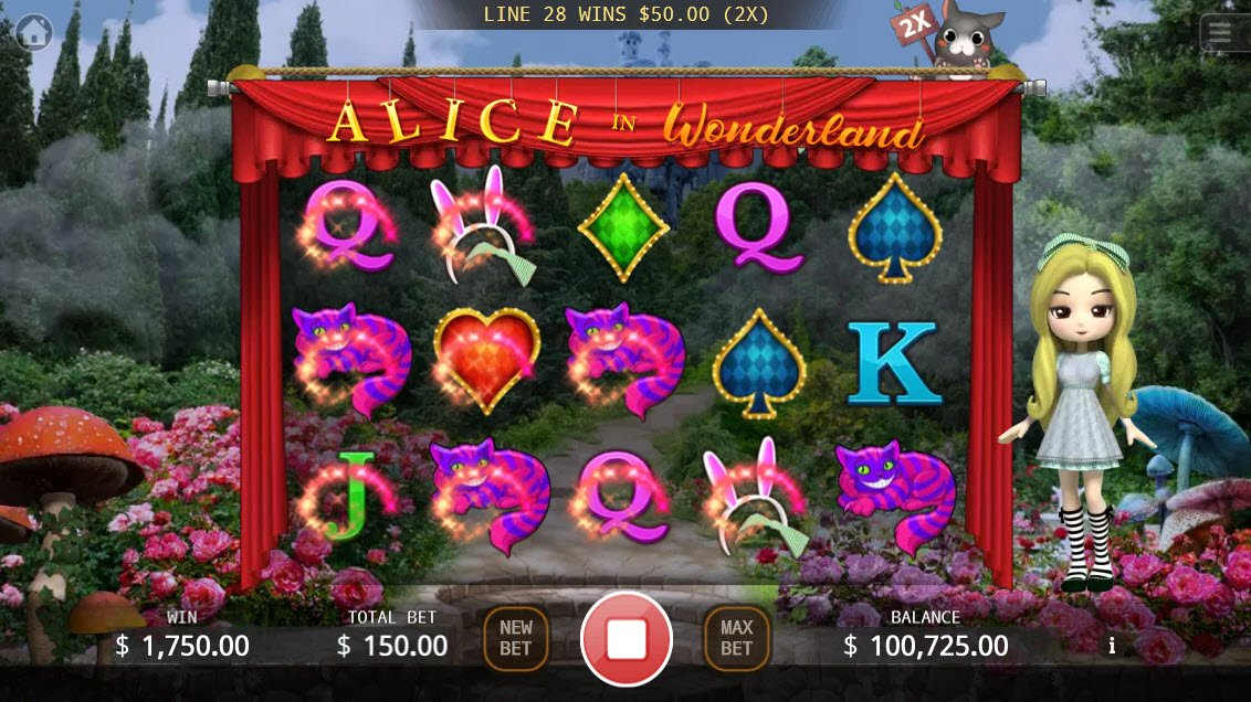 Alice in Wonderland :: Winning symbols are removed from the reels and new symbols drop in place