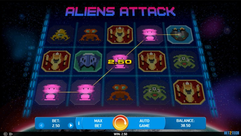 Alien Attack :: A four of a kind win